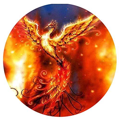 Yingxin34 Puzzle de 1000 Piezas - para Adultos Flame Bird Phoenix Pinturas Decorativas Rompecabezas de Navidad Rompecabezas Circular