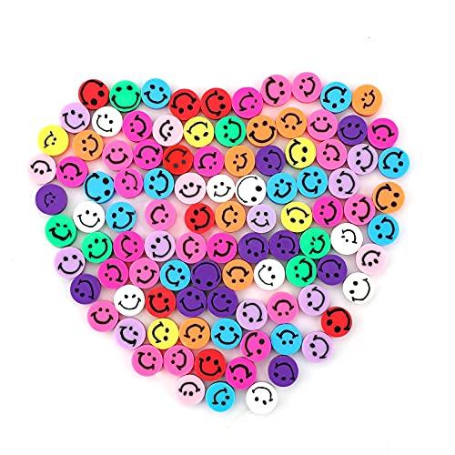 SAVITA 100st Smiley Handgemaakte Kralen Gemengde Kleuren Smiley Polymeer Klei Kralen Polymeer Klei Kralen voor Het Maken…