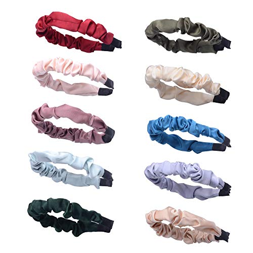 Nxconsu 10Pcs Pleat Headbands for Women Girls Teens Plain Colors Fashion Hair Accessories Trendy Hair Bands Wide Comfort Wrinkle Thick Fabric Head band for Outfits Party School Solid Color Selection