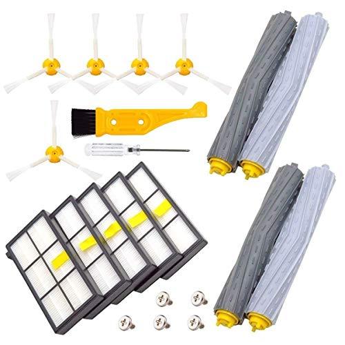 Yongenee Piezas de repuesto para 860 880 805 860 980 960 aspiradoras, con filtro Hepa, cepillo lateral de 3 brazos, rodillos de desechos libres, negro y amarillo