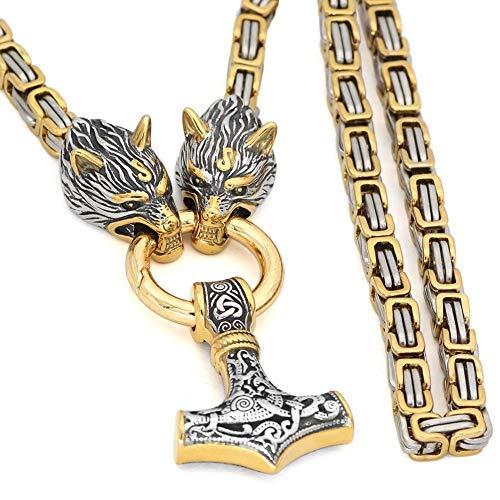 Massiver Thors Hammer Edelstahl Gold Anhänger Mit Schwerer Kette 60cm für Herren