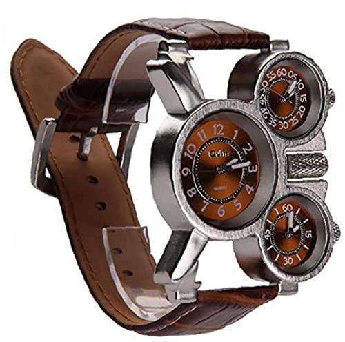 Tuimiyisou Reloj de Tres diales analógicos de los Hombres multifuncionales Manos Luminosas y diseño de la Correa de Cuero cómodos (marrón) 1 Paquete