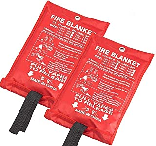 JJ CARE [Pack of 2 Fire Blanket Fire Suppression Blanket Made from Fiberglass Cloth - Suitable for Camping, Grilling, Kitchen Safety, Car and Fireplace Fire Retardant Blanket for Emergency 40