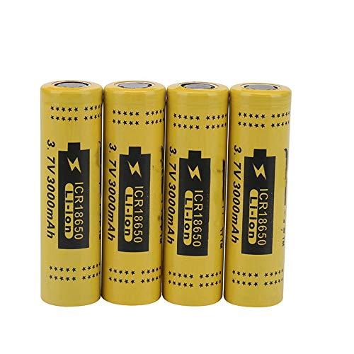 SUGGL 4pcs 18650 3.7v 3000mah Batería Recargable De Iones De Litio, para Herramientas EléCtricas Linterna CáMara Frontal MicróFono De Banco De Energía