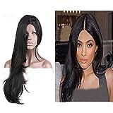 Eseewigs - Peluca de pelo largo y liso con aspecto natural, resistente al calor, totalmente sintética, de hermoso color negro natural, con 130% de alta densidad, para mujer.