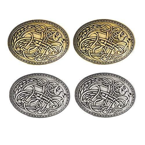 4X Broche vikingo Pin Joyería nórdica Amuleto pagano Wiccan Chal Abrigo Suéter Insignia