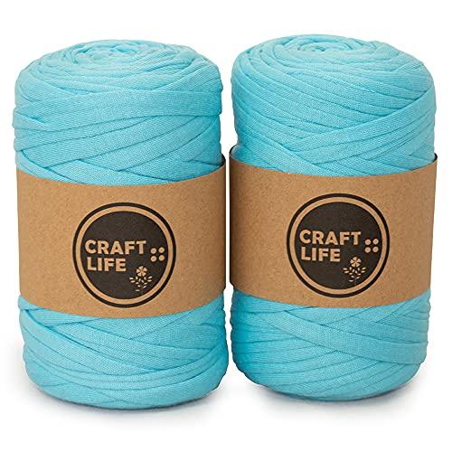 Tシャツ ヤーン ファブリックヤーン 糸 カラー 約50m 2巻セット (ターコイズ 2巻)