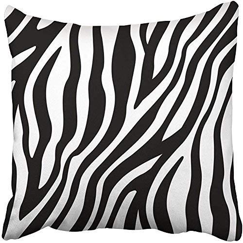 GFGKKGJFD507 - Fundas de cojín, diseño de cebra, color negro, con rayas, color blanco, África, material de animales de la selva, líneas de naturaleza, salvaje, fundas de cojín decorativas, 18 x 18 cm, para niños, decoración de granja