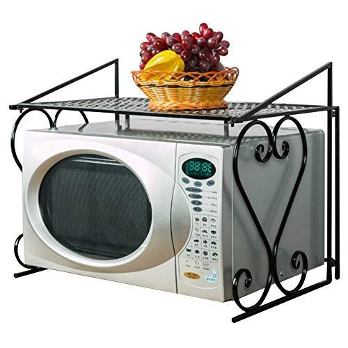 Warmiehomy Mensola per Forno a Microonde, 55×43,5×36cm Porta Padelle e Pentole, Mensola da Cucina, Mensola in Metallo, Pieghevole - Nero