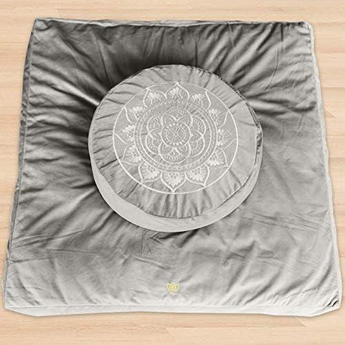 Florensi Meditation Cushion Zabuton Meditation Mat Bundle Premium Velvet Meditation Pillow for product image
