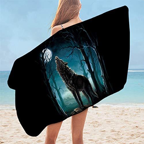 Toalla de baño Wolf Dreamcatcher microfibra toalla de playa nativa tribal animal acuarela 75x150cm