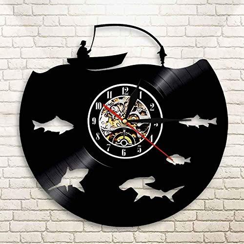 Wwbqcl Pescador Decorar la Pared del Barco para IR a Pescar Pegatinas Reloj de Pared diseño de caña de Pescar Pesca Aparejos de Pesca Disco de Vinilo luz LED