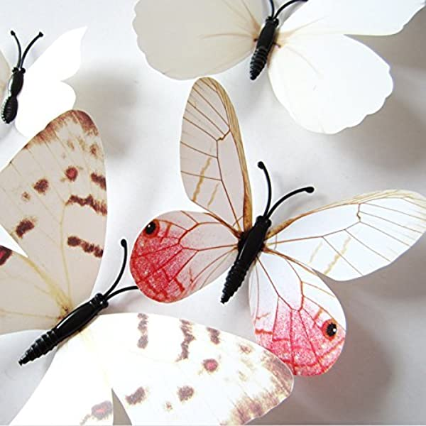 Amaonm 24pcs 3D Vivid Special Man Made Lively Butterfly Art DIY Decor Wall Stickers Decals Nursery Decoration Bathroom D Cor Office D Cor 3D Wall Art 3D Crafts For Wall Art Kids Room Bedroom