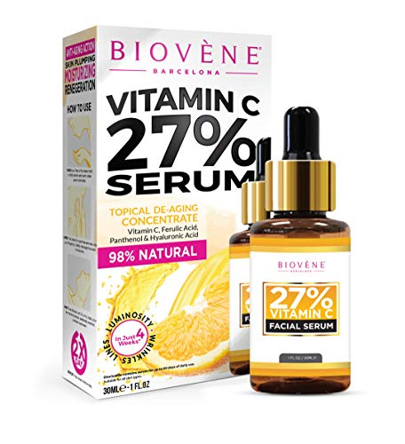 Biovène Vitamin C Serum - Vitamin C Serum for Face Supports Youthful Skin - Soothing, Brightening + Firming - Reduces Fine Lines + Minimises Appearance of Wrinkles - With Hyaluronic Acid (30ml)