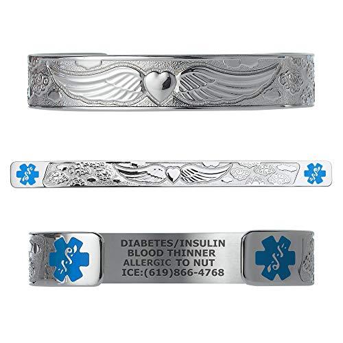 Divoti Custom Engraved Medical Alert Bracelets for Women, Stainless Steel Medical Bracelet, Medical ID Bracelet w/Free Engraving - Angel Wing w/6' Cuff(fits 6.5-8.0')-Stainless/Light Blue