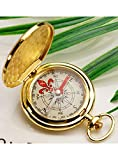 Snowmanna-Portable Vintage Old Style Compass Pocket Watch Style Multifunction Fluorescence Compass Navigation for Outdoor Sports Camping Hiking (New Golden)