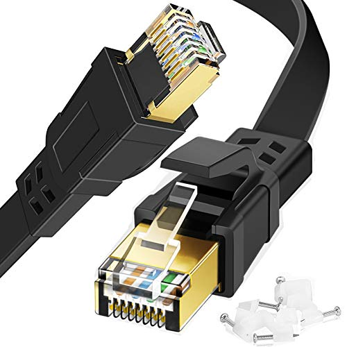 Ethernet Cable 10ft, High Speed Cat 8 Internet LAN Cable for PS4, Xbox, Router, Flat Network Cord with Clips RJ45 Snagless Connector Fast Computer Wire for Modem,Gaming,WiFi,TV,Switch,Laptop,Black