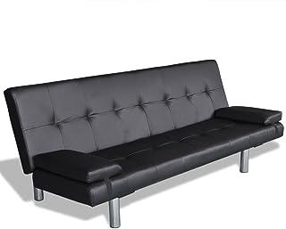 vidaXL Canapé-lit Ajustable 2 Oreillers Cuir Synthétique Noir Canapé-lit Salon