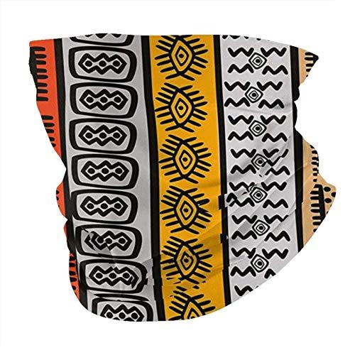 N/W Outdoor Schal Halstuch Halstuch Gesicht Bandana Schal Kopftuch Tribal Decor Ethnische afrikanische Motive mit handgezeichneten Bordüren Muster Artwork Schwarz Orange und Gelb Kopftuch