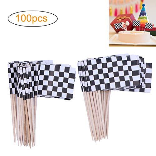 Kylewo 100-Pack Checkered Markierungsfahnen Checkered Racing Flagge Party Cupcake Picks Zahnstocher Flagge Abendessen Flaggen Kuchen Topper Dekorationen