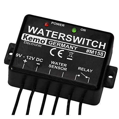 Kemo M158 Wassermelder 9 - 12 V/DC. Integriertes Relais. Steuern von Sirenen, anderen Abschaltrelais usw. Mit LED-Anzeigen. Stromaufnahme <10 mA
