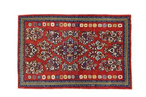 Eden Kunststoff Saruk Teppich Hand geknotet, Baumwolle, Mehrfarbig, 77x 118cm
