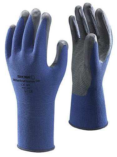 Showa 380 Blue/Black Foam Nitrile Grip Safety Gloves Size 9 / XL - 10 Pairs by Showa