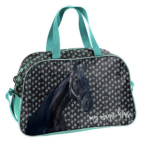 Ragusa-Trade Mädchen Kinder Sporttasche Reisetasche mit tollem Pferde Motiv (19KN) für Mädchen, schwarz, 40 x 25 x 13 cm