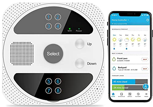 Smart Sprinkler Controller, WiFi Sprinkler Controller with 8 Zone Watering Timer & Weather Intelligence Irrigation Controller System Voice Control Compatible with Alexa & Google Assistant