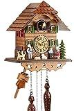 Eble 60820000 Horloge à coucou musicale en bois véritable avec mouvement à quartz alimenté par pile Maison d'Heidi 25 cm
