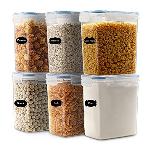 JUCJET 1.6L Contenitori Alimentari per Cereali, Senza BPA Contenitori Plastica con Coperchio, Set 6 Pezzi + 12 Etichette, Utilizzato per la Conservazione di Pasta, Cereali, Muesli, Farina (Blu)
