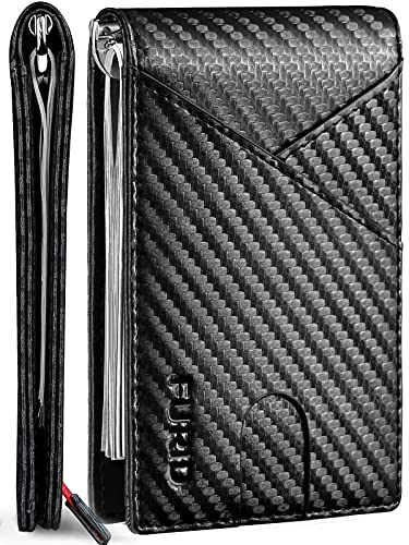 of pouch wallets dec 2021 theres one clear winner FURID Slim Black Men Wallet, Rfid Front Pocket Wallet Minimalist, Ultra thin Bifold Credit Card Holder Wallet with Money Clip Inside for Men with Gift Box