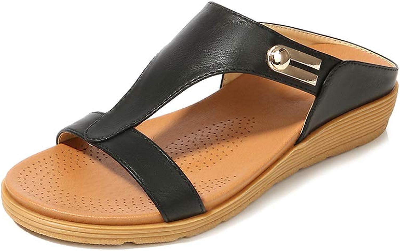 Mekidy Womens Fashion Beach Leather Walking Slide Sandals