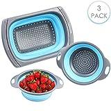 Bramble 3 Pezzi - Scolapasta Pieghevole in Silicone, 3 Taglie - Robusto e Senza BPA - Colino Estensibile con Impugnatura Antiscivolo - Perfetto per Drenare Verdure, Frutta, Pasta, ECC