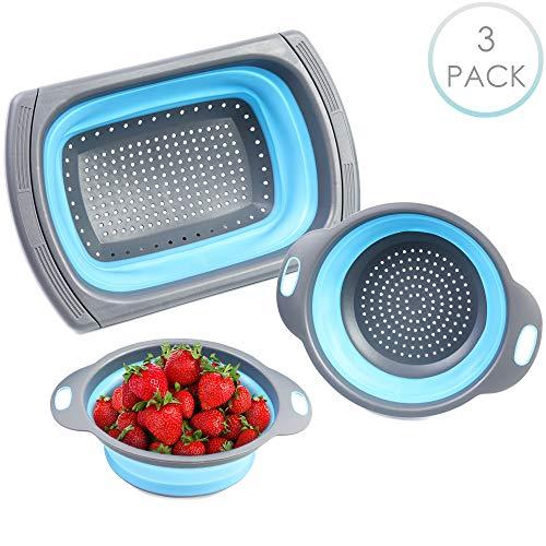 Bramble 3 Stück - Faltbare Siebe, Spülbeckensieb, 3 Größen - Robuste und BPA-Freie Ausziehbares Silikon-Küchensiebe mit Rutschfestem Griff - Ideal zum Abtropfen von Gemüse, Obst, Nudeln usw.