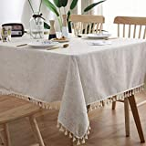 yqs Home Mantel decorativo de lino con encaje rectangular para mesa de comedor...