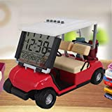 WLOOD 2020 Newest Version LCD Display Time Date and Temperature Mini Golf Cart Clock for Golf Fans Great Gift for Golfers Race Souvenir Novelty Golf Gifts (Red)