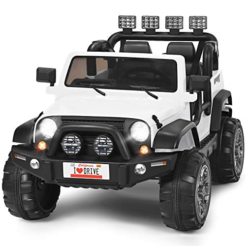 Costzon 2-Seater Ride on Truck, 12V Battery Powered Electric Vehicle Toy w/ 2.4G Remote Control, 3 Speed, LED Lights, MP3 Horn, Music, 2 Doors Open, Spring Suspension, Ride on Car for Kids (White)