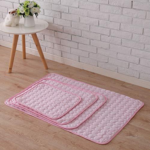 Fostudork BedMats LGH 3 capas de perro, enfriamiento mate hielo, seda dormir, pequeño tamaño mediano, cama, cojín de sofa/suelo, asiento de coche, color rosa, L – 68 x 53 cm
