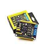 for Raspberry Pi, KEYESTUDIO L298P Motor Driver Shield GPIO Connectors for Raspberry Pi Model B/B+/A+/2/3/4 Zero and Zero W, High-Power Motor Speed Controller Board Dual H Bridgewith IR Receiver