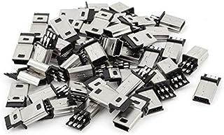 NA 45Pcs Mini USB 5pin Type B Male PCB Connector Mounting Plug