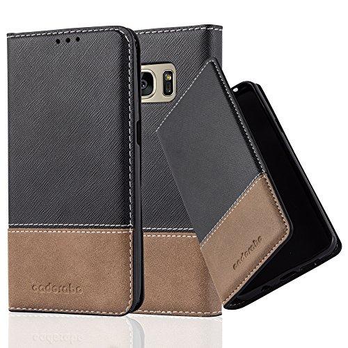 Cadorabo Funda Libro para Samsung Galaxy S7 en Negro MARRÓN – Cubierta Proteccíon con Cierre Magnético, Tarjetero y Función de Suporte – Etui Case Cover Carcasa