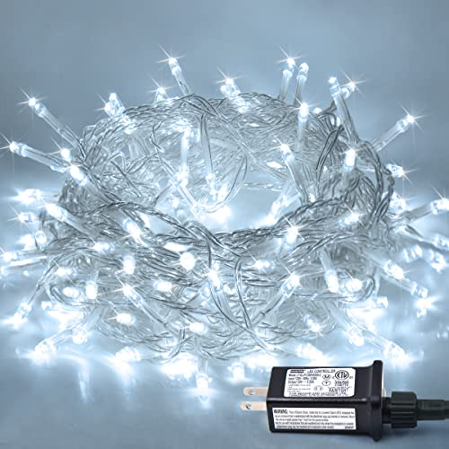 JMEXSUSS 33ft 100 LED White Christmas Lights, 8 Modes Plug-in Clear Wire Indoor String Lights, Twinkle Fairy Christmas Lights Outdoor Waterproof for Christmas Wedding Party Tree Garden Decorations