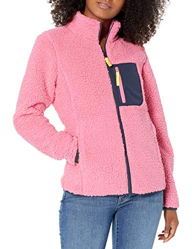 Amazon Essentials Women's Sherpa Long Sleeve Mock Neck Full-Zip Jacket  with Woven Trim, Pink/Navy, X-Large