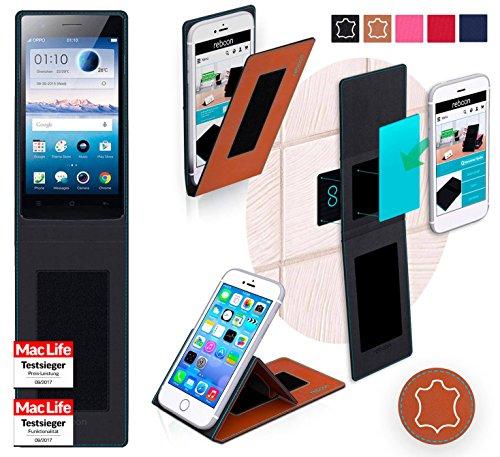 reboon Hülle für Oppo Neo 5 2015 Tasche Cover Case Bumper | Braun Leder | Testsieger