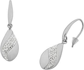 Bevilles Stainless Steel Pave Crystal Teardrop Earrings Drop