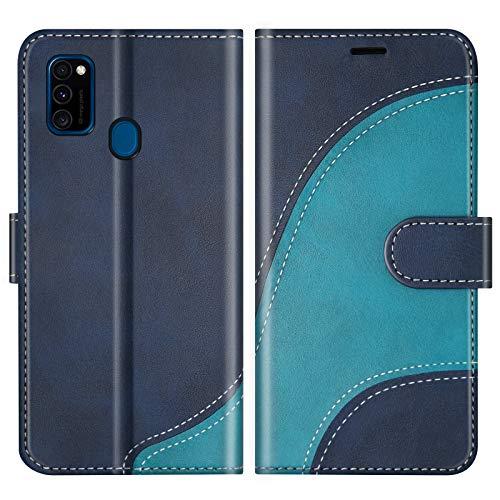 BoxTii Hülle für Galaxy M30S / Galaxy M21, Leder Handyhülle für Samsung Galaxy M30S / Galaxy M21, Ledertasche Klapphülle Schutzhülle mit Kartenfächer & Magnetverschluss, Blau