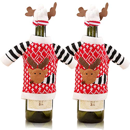 Christmas Reindeer Wine Bottle Cover, 2Pcs Knitted Ugly Sweater Covers for Christmas Decorations