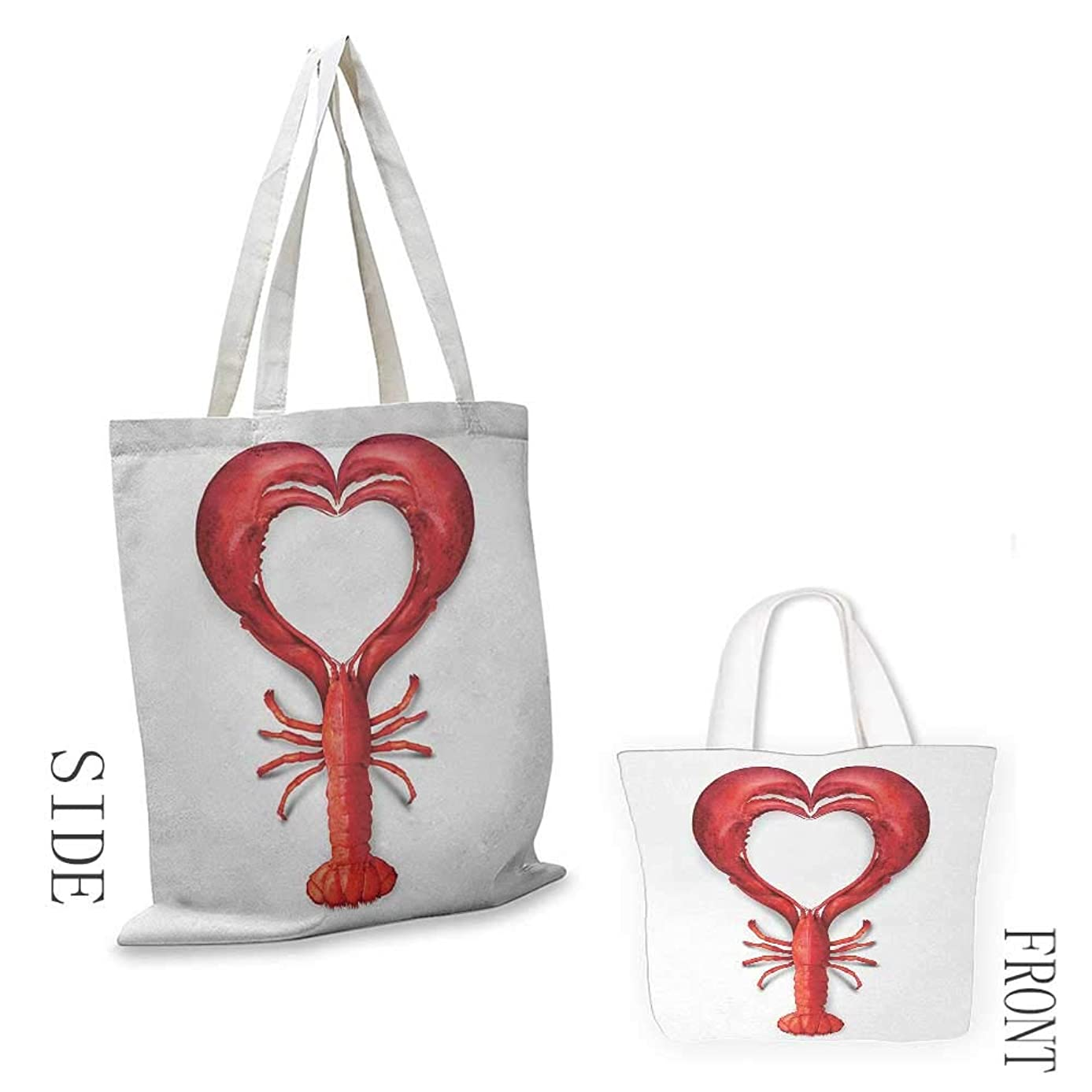 Tote bag Sea Animals A Boiled Lobster Shaped as A Heart Symbol Seafood Love Valentines Restaurant Menu Art Coin cash wallet 16.5