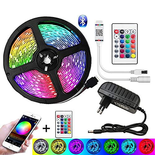 Tira LED RGB 15M Impermeable, Tiras LED USB con Control Remoto, Modos de Brillo y 16 Colores, Tira LED Regulable para Habitacion, Hogar, Cocina, Bar, Fiesta, Boda, Restaurante5050 Not waterproof-5m